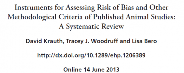 Assessing bias in animal studies: new systematic review published